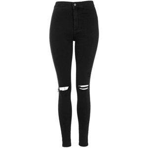 Topshop Moto Joni Skinny Jeans Black Ripped Size 28/32